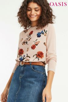 Oasis Light Neutral Camile Woven Jumper