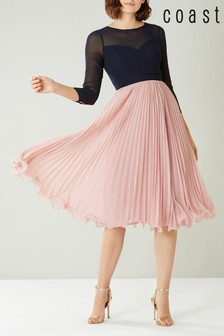 Coast Pink/Navy Zoe Ladder Detail Midi Dress
