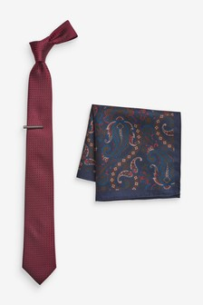 Tie With Paisley Pattern Pocket Square And Tie Clip