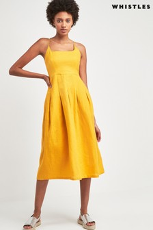 Whistles Yellow Duffy Linen Strappy Dress