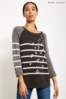 Mint Velvet Leopard Stripe Mix Oversized Knit