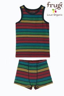 Frugi Organic Cotton Rainbow Vest And Boxer Short Set