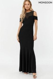 Monsoon Ladies Black Matilda Crepe Trim Maxi Dress