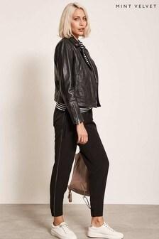Mint Velvet Black Sports Pant With Metallic Stripe