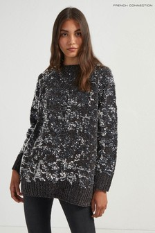 French Connection Grey Rosemary Sequin Knit Raglan Jumper