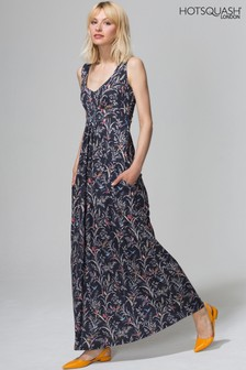 HotSquash Black Oriental Birds Empire Line Maxi Dress