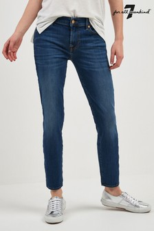 7 For All Mankind Blue Wash Mid Rise Cropped Slim Fit Jean