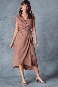 Animal Jacquard Wrap Dress