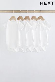 5 Pack GOTS Organic Short Sleeve Bodysuits (0mths-3yrs)