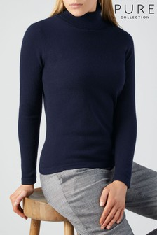 Pure Collection Blue Cashmere Roll Neck Sweater