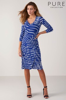Pure Collection Blue V-Neck Jersey Wrap Dress