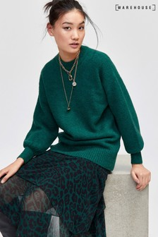 Warehouse Dark Green Premium Wool Blend Jumper