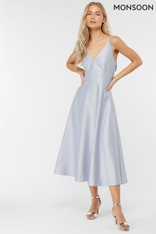 Monsoon Blue Abbey Satin Bow Midi Dress