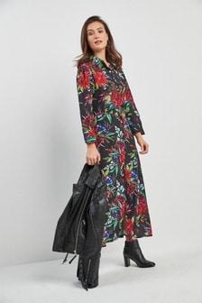 Floral Midi Shirt Dress