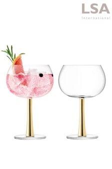 Set of 2 LSA International Gold Gin Glasses