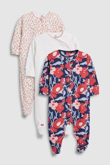 Strawberry And Floral Print Sleepsuits Three Pack (0mths-2yrs)