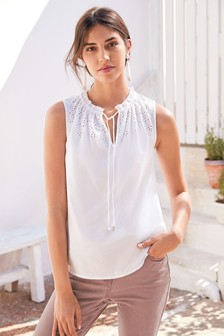 Sleeveless Broderie Top