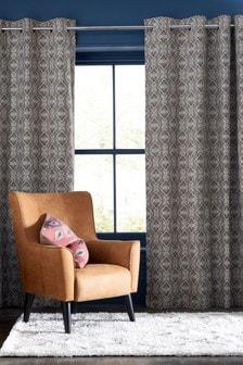 Textured Diamond Geo Jacquard Eyelet Curtains