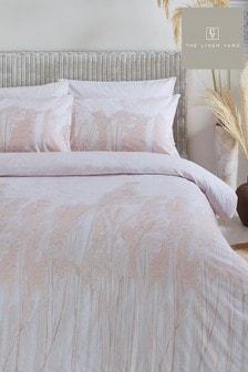 The Linen Yard Pink Pampas Duvet Cover and Pillowcase Set