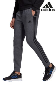 adidas Dark Grey 3-Stripe Fleece Joggers