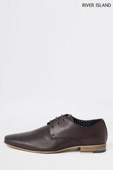 River Island Dark Red Rixone Textured Derby Shoes