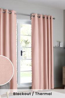 Blush Pink Textured Tassel Eyelet Blackout/Thermal Curtains