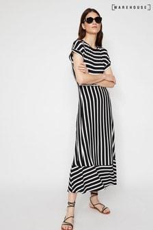 Warehouse Black Striped Open Back Maxi Dress