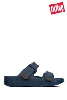 FitFlop Men's Blue Gogh Moc Adjustable Leather Sliders