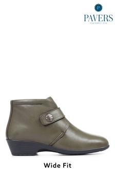 Pavers Green Wide Fit Leather Ladies Ankle Boots