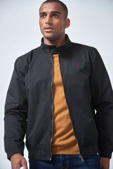 Shower Resistant Harrington Jacket With Check Lining
