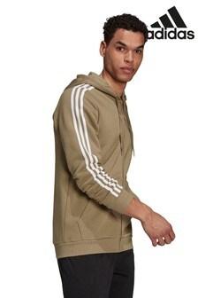adidias Fleece 3 Stripe Zip Through Hoodie