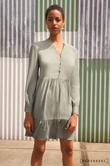 Warehouse Green Tiered Mini Dress