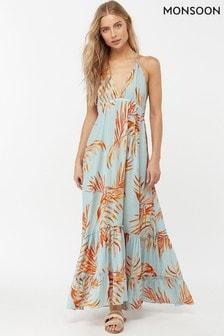 Monsoon Ladies Blue Ayla Palm Leaves Maxi Dress