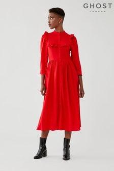 Ghost Red Trinity Midi Dress