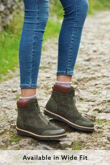 Forever Comfort Cross Pattern Front Zip Boots