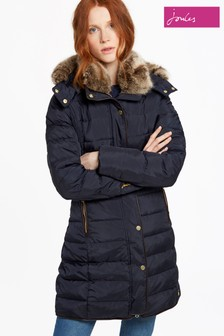Joules Navy Long Line Padded Coat With Faux Fur Hood
