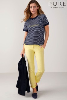 Pure Collection Yellow Washed Cotton Chino
