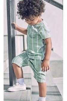 Vertical Stripe T-Shirt and Shorts Set (3mths-7yrs)