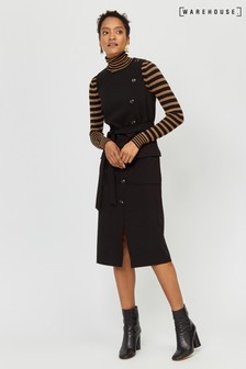 Warehouse Black Button Sleeveless Midi Dress