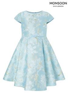 Monsoon Aries Blue Jacquard Dress