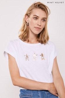 Mint Velvet White Military Star T-Shirt