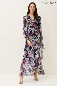 Phase Eight Blue Winafred Chiffon Wrap Maxi Dress