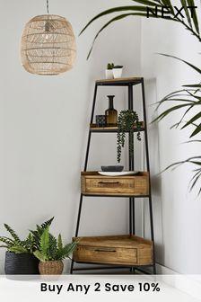 Jefferson Compact Rustic Corner Ladder Shelf