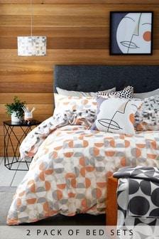 2 Pack Geo Circle Orange Duvet Cover and Pillowcase Set