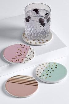 Set of 4 Confetti Ceramic Coasters