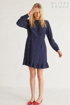 Oliver Bonas Blue Heart Spot Dress