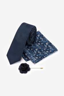 Tie With Pocket Square And Lapel Pin Set