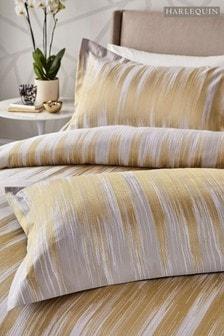 Harlequin Gold Motion Ikat Cotton Pillowcase