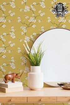 Art For The Home Ochre Fresco Apple Blossom Wallpaper