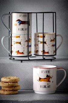 Set of 4 Winston & Pals Stacking Mugs